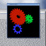 OpenGL screenshot showing a software-rendered Gears demo